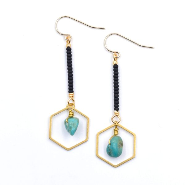 Hexagon Drop Earrings - Turquoise & Matte Black