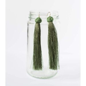 Knotted Tassel Earrings - Long, Light Green