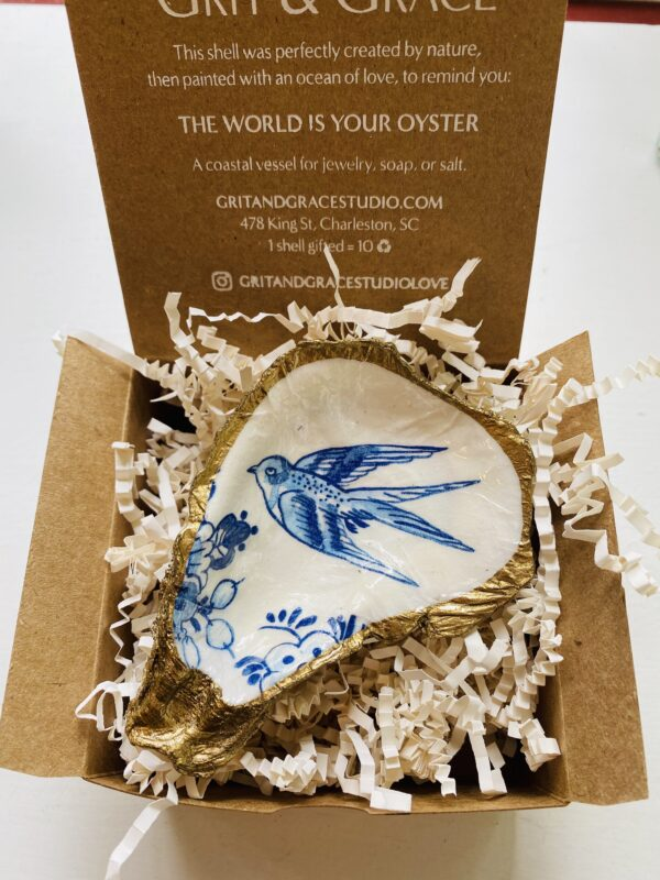 Blue Bird Indigo Decoupage Oyster Ring Dish with Gift Box