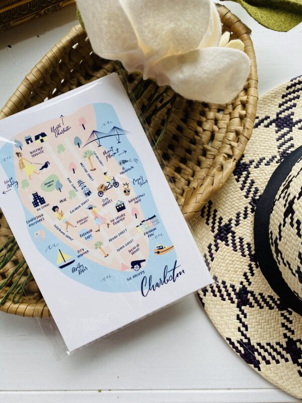 Charleston Map Postcard Souvenir Set of 10