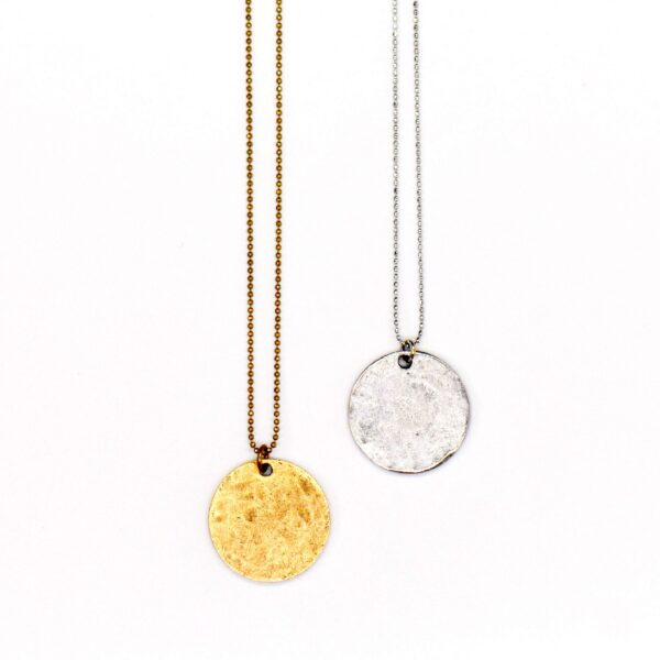 "Gold Hammered Circle Coin Necklace, 20"" Length"