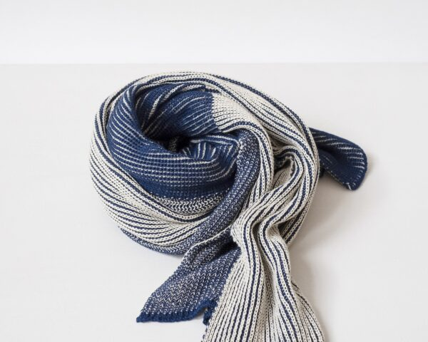 Organic Cotton Half and Half Scarf in Light Indigo