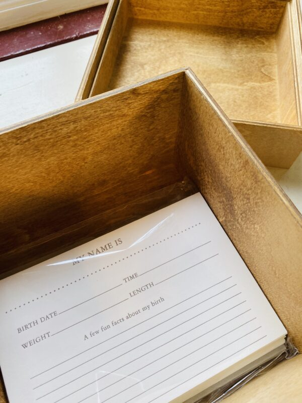 Heirloom Wooden Keepsake Baby Box & Memory Cards