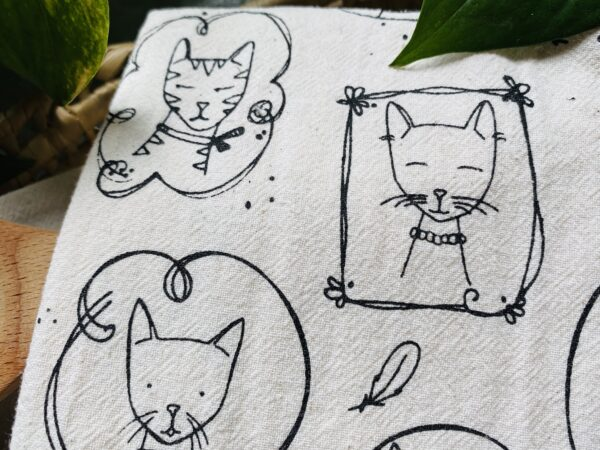 Cats Kitchen Towel in Black