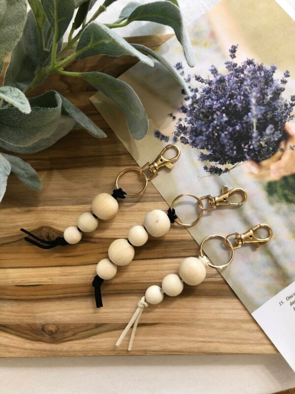 Minimalist Natural Wood Bead with Cream Leather Keychain