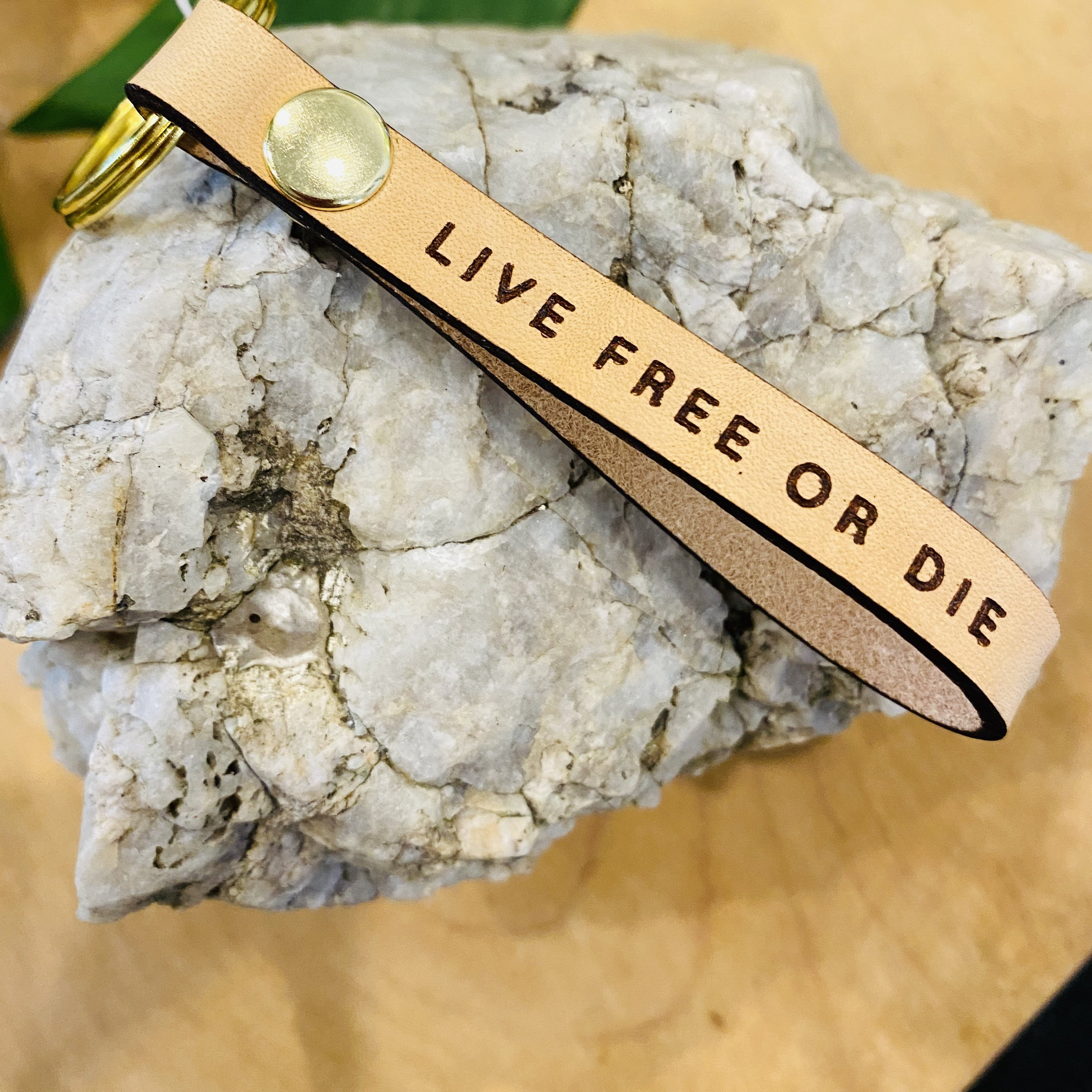 """Live Free Or Die"" Leather Loop Keychain"