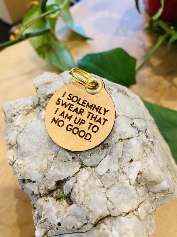 """I Solemnly Swear that I Am Up to No Good"" Genuine Leather Pet Collar Tag"