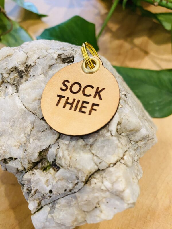 """Sock Thief"" Genuine Leather Pet Collar Tag"