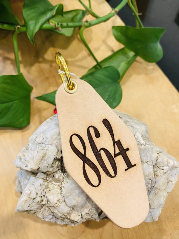 """Coral """"864"""" Area Code Leather & Velvet Keychain"""